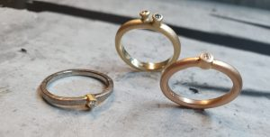 3 Verlobungsringe mit Brillanten